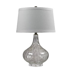 "24"" Transitional Clear Water Glass Table Lamp With White Linen Shade"