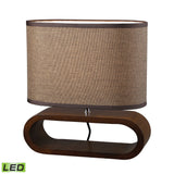 "Diamond Lighting 12"" Transitional Oval LED Table Lamp in Natural Stained Wood"