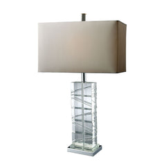 "23"" Contemporary Avalon Table Lamp In Clear Crystal And Chrome"