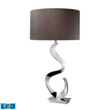 "Diamond Lighting 30"" Contemporary Morgan LED Table Lamp In Chrome With Grey Faux Silk Shade"