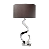 "30"" Contemporary Morgan Table Lamp In Chrome With Grey Faux Silk Shade"