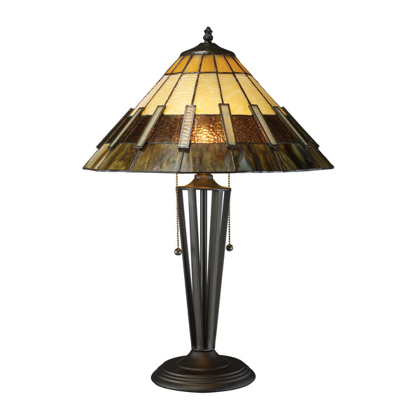 "23"" Traditional Porterdale 2 Light Table Lamp In Tiffany Bronze"