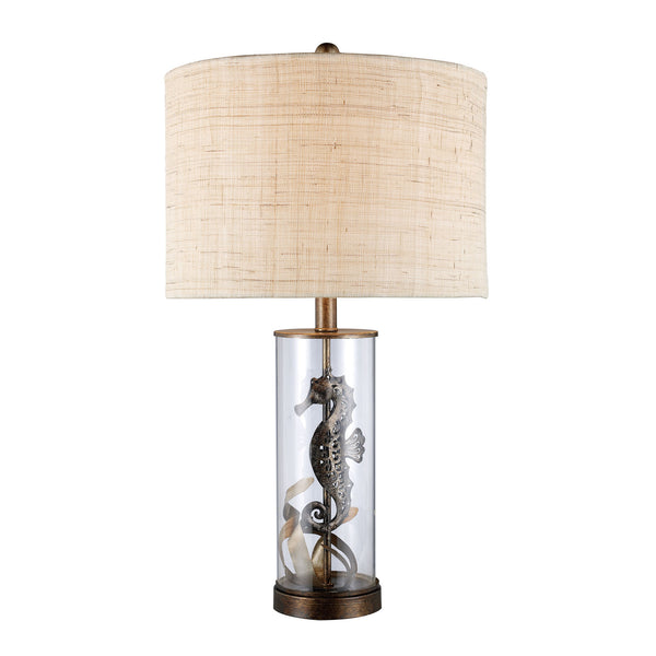 "26"" Largo Table Lamp - Bronze & Clear Glass w/ Natural Linen Shade"