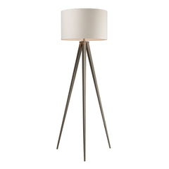 "61"" Contemporary Salford Floor Lamp - Satin Nickel w/ Off White Linen Shade"