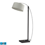 "Diamond Lighting 76"" Logan Square LED Floor Lamp - Dark Brown w/ Off-White Linen Shade"