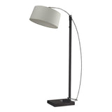 "76"" Contemporary Logan Square Floor Lamp In Dark Brown w/ Off-White Linen Shade"
