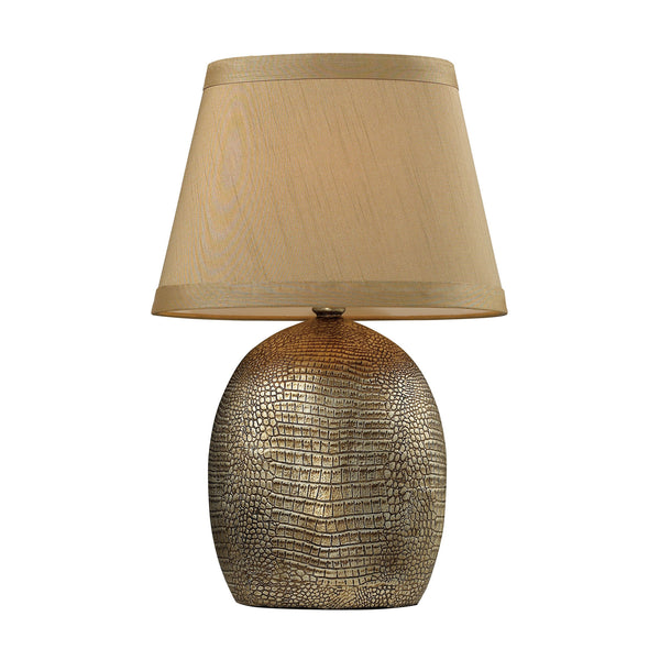 "21"" Traditional Gilead Table Lamp w/ Alligator Texture Base - Meknes Bronze"