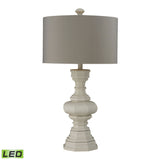 "Diamond Lighting 31"" Transitional Parisian Plaster Finish LED Table Lamp With Light Grey Shade"