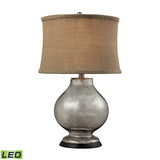 "Diamond Lighting 25"" Stonebrook LED Table Lamp - Antique Mercury Glass w/ Burlap Shade"