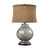 "25"" Stonebrook Table Lamp - Antique Mercury Glass w/ Burlap Shade"