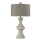 "31"" Transitional Parisian Plaster Finish Table Lamp With Light Grey Shade"