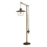 70'' Farmhouse Floor Lamp In Antique Brass With Matching Metal Shade
