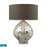 "Diamond Lighting 25"" Limerick Ceramic LED Table Lamp - Turrit Gloss Beige w/ Brown Linen Shade"
