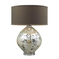 "25"" Limerick Ceramic Table Lamp - Turrit Gloss Beige w/ Brown Linen Shade"