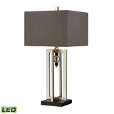 "Diamond Lighting 30"" Transitional Silver Leaf LED Table Lamp With Crystal Accents And Grey Shade"