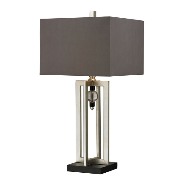 "30"" Transitional Silver Leaf Table Lamp With Crystal Accents And Grey Shade"