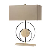 "21"" Contemporary Shiprock Bleached Wood Table Lamp in Chrome"