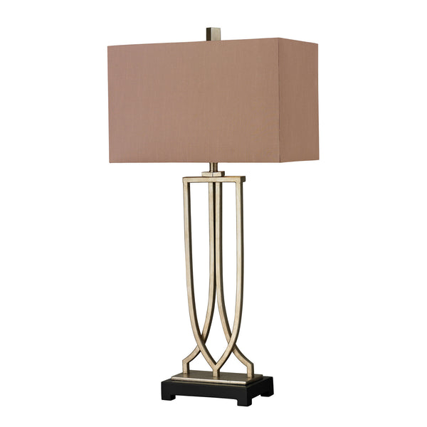 "33"" Transitional Free Form Iron Table Lamp In Antique Silver Leaf Finish"