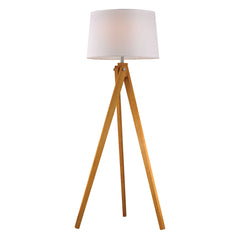 "63"" Transitional Wooden Tripod Floor Lamp in Natural Wood Tone"