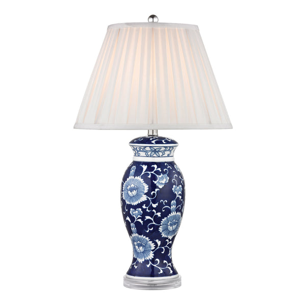 "28"" Hand Painted Ceramic Table Lamp - Blue & White w/ Acrylic Base"