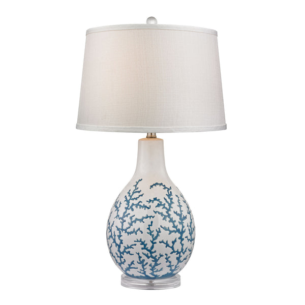 "27"" Transitional Sixpenny Blue Coral Table Lamp in White"