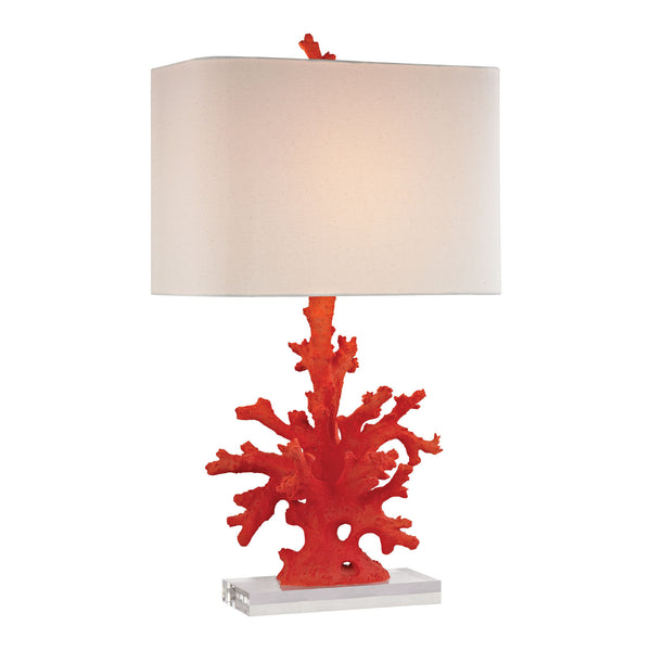 "28"" Transitional Red Coral Table Lamp in Red"