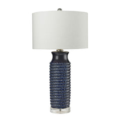 "30"" Transitional Wrapped Rope Ceramic Table Lamp in Navy Blue"