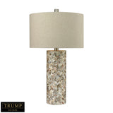 "29"" Transitional Herringbone Table Lamp In Natural Mother of Pearl"