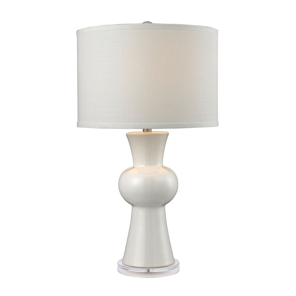 "28"" White Ceramic Table Lamp w/ Textured White Linen Hardback Shade"