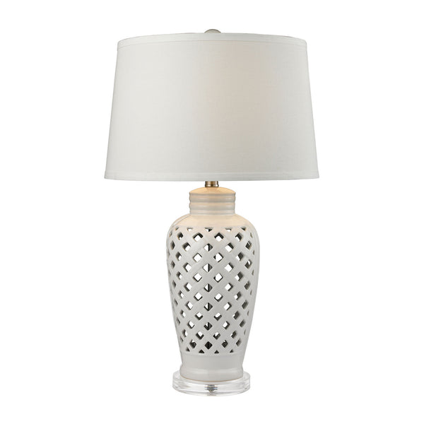 "27"" Traditional Openwork Ceramic Table Lamp in White With White Shade"