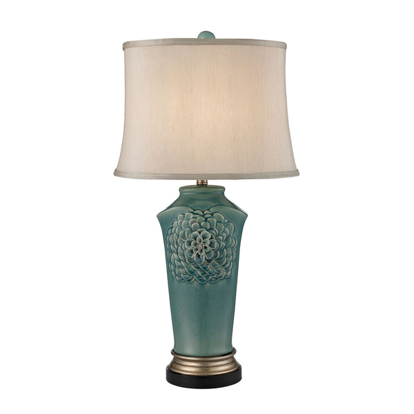 "31"" Traditional Organic Flowers Table Lamp in Seafoam Finish"