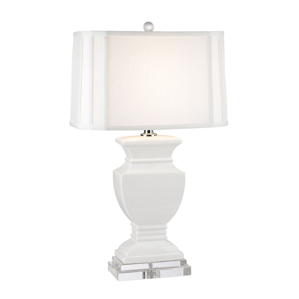 "27"" Traditional Ceramic Table Lamp in Gloss White And Crystal"