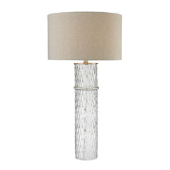 "33"" Transitional Two Tier Glass Table Lamp With Grey Linen Shade"