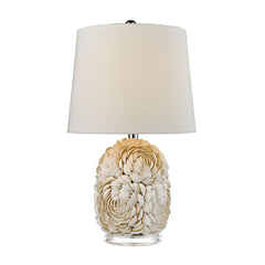 "23"" Transitional Natural Shell Table Lamp With Off White Linen Shade"