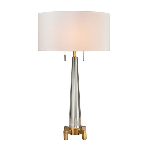 Bedford Solid Crystal Table Lamp in Aged Brass