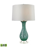 "Diamond Lighting 27"" Transitional Swirl Glass LED Table Lamp in Aqua"
