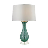 "27"" Transitional Swirl Glass Table Lamp in Aqua"