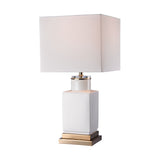"20.5"" Transitional Small White Cube Lamp"