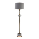 "64"" Transitional Gold Fluted Neck Floor Lamp"