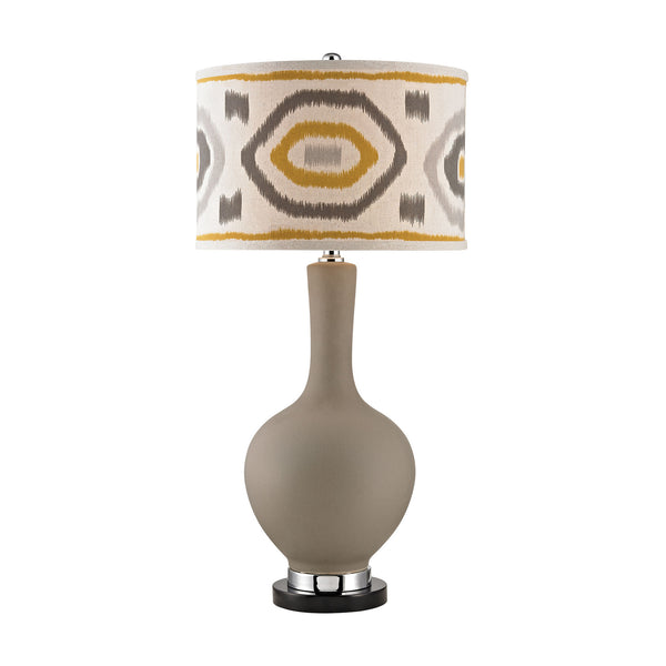 "34"" Transitional Matte Grey Lamp With Patterned Shade"