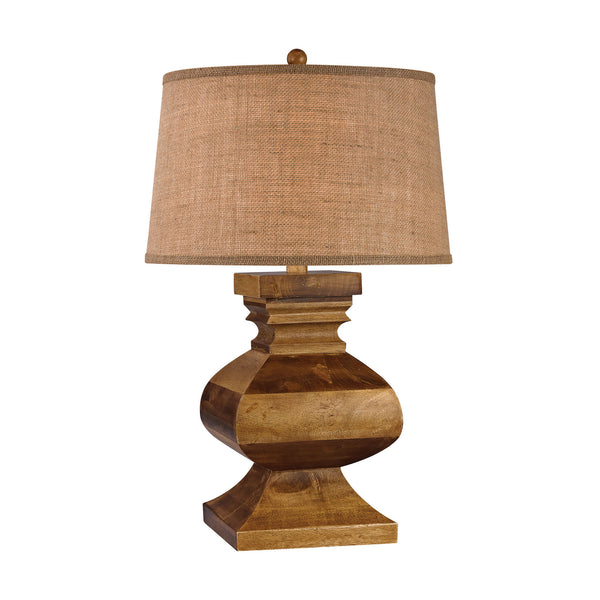 "29"" Traditional Carved Wood Post Lamp"