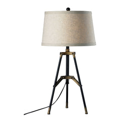 "30"" Functional Tripod Table Lamp in Restoration Black & Aged Gold"