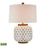 "Diamond Lighting 26"" Traditional Woven Ceramic LED Table Lamp in White And Wood Tone"