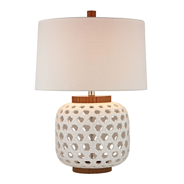 "26"" Traditional Woven Ceramic Table Lamp in White And Wood Tone"