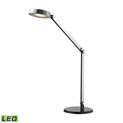 20'' Contemporary Modern Disc Task Lamp in Chrome and Black