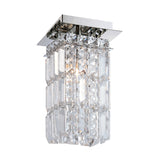 King Crown Single Shade Flush Mount Ceiling Light - Crystal Glass / Chrome Finish