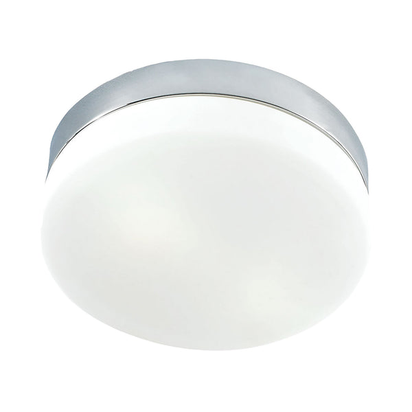 Disc LED Medium Flush Mount Ceiling Fixture - Frosted Glass / Chrome
