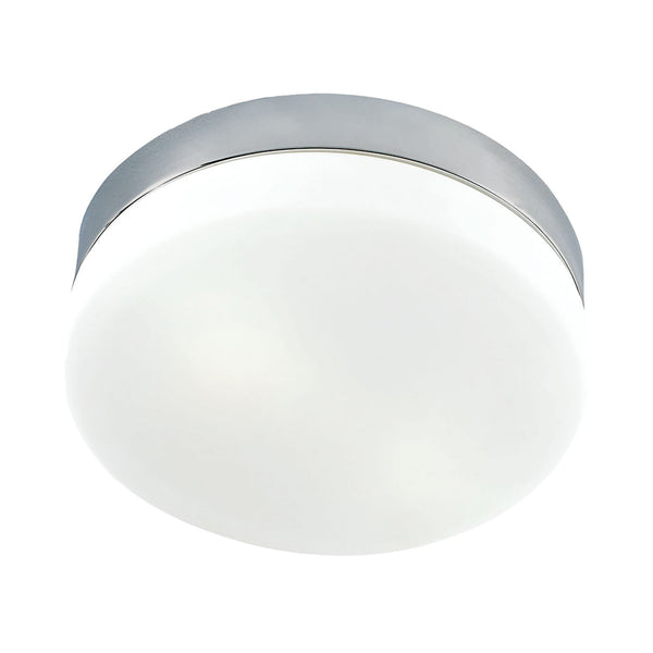Disc LED Medium Flush Mount Ceiling Fixture - Frosted Glass / Satin Nickel