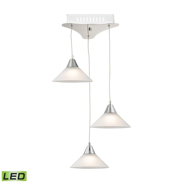 Cono 3 Light LED Pendant In Chrome With White Glass