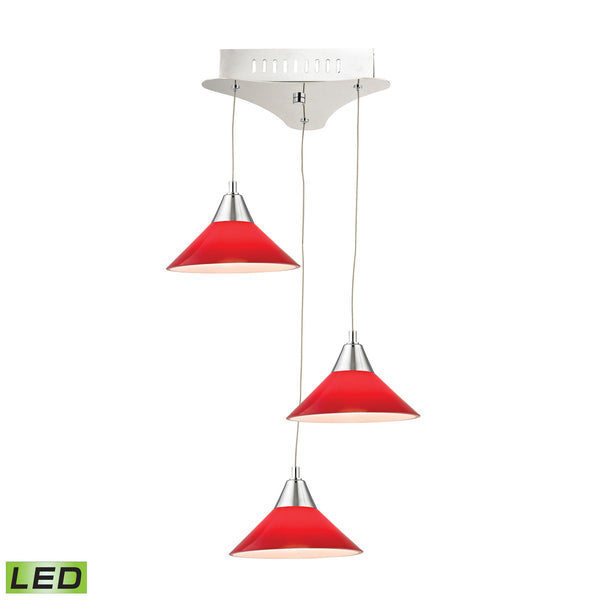 Cono 3 Light LED Pendant In Chrome With Red Glass